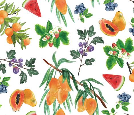 Watercolor Fruit fabric by roguerenpnw on Spoonflower - custom fabric