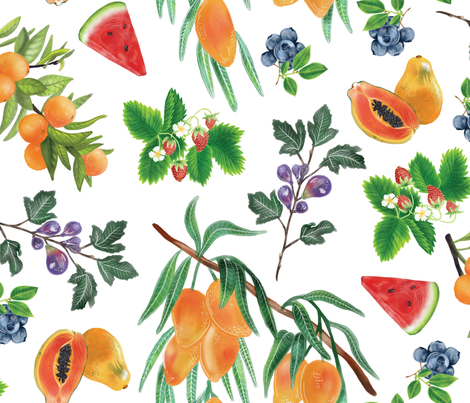 Watercolor Fruit fabric by roguerens on Spoonflower - custom fabric