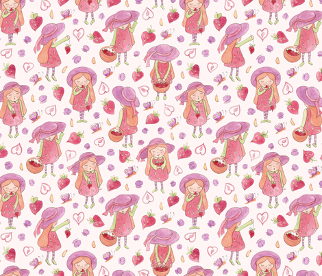 Whimsical strawberry girls fabric by lauraflorencedesign on Spoonflower - custom fabric
