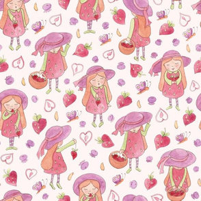 Whimsical strawberry girls