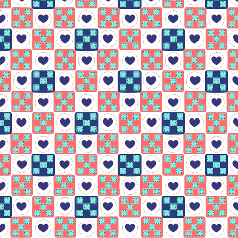 Summer Patches-Miniature Heart Quilt Squares  fabric by franbail on Spoonflower - custom fabric