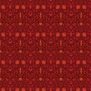 Red floral pattern.