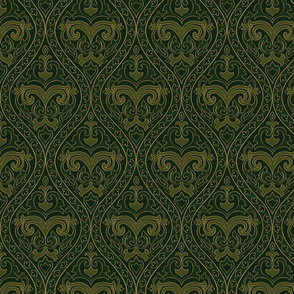 Green pattern with damask.