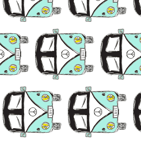 Camper black turquoise rotated by MiaMea fabric by miamea on Spoonflower - custom fabric