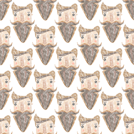 Bearded trendy hipster guy fabric by outshop on Spoonflower - custom fabric