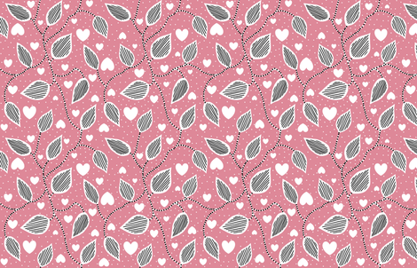 Leaves and hearts fabric by miamea on Spoonflower - custom fabric