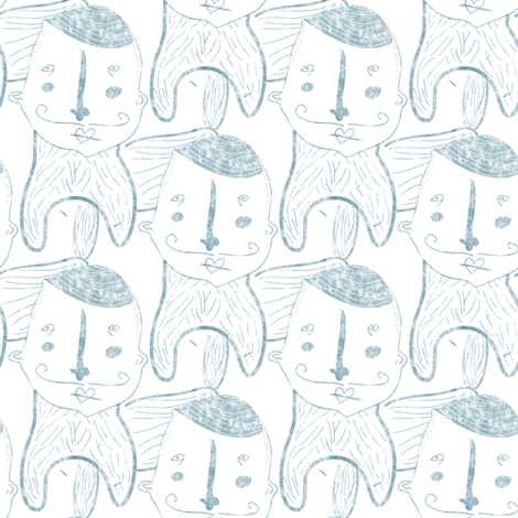 Human face doggy body in blue fabric by outshop on Spoonflower - custom fabric