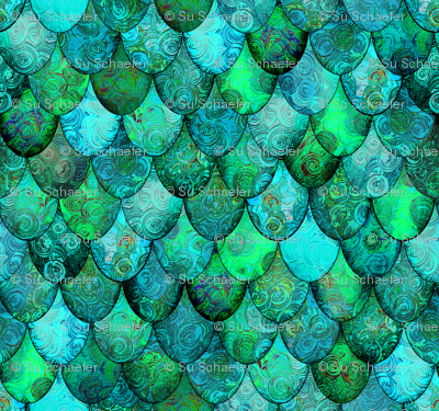1/6 scale Greens + Aquamarine Mermaid or Dragon Scales, after Fabergé, by Su_G