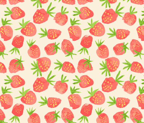 sweet and fresh strawberries fabric by sarah_price on Spoonflower - custom fabric