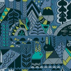 Scandinavian folk wild animals design