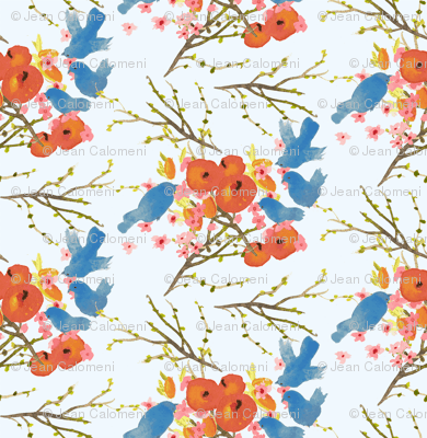 Peaches-and-Birds-fabric