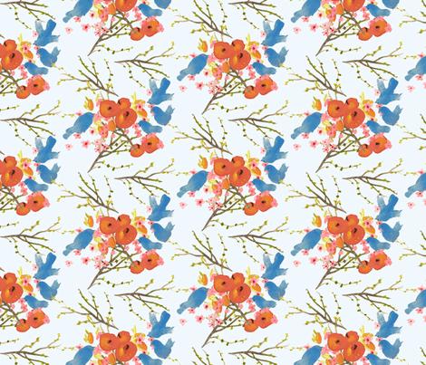 Peaches-and-Birds-fabric fabric by jean_calomeni on Spoonflower - custom fabric