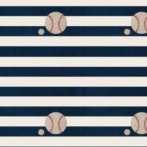 stripes and Baseballs MED105-  navy cream horizontal