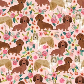 Custom order sheltie and dachshund dog fabric