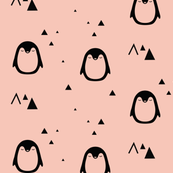 Sleepy Penguins - coral