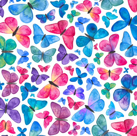 Watercolour Butterfly Pattern fabric by elena_o'neill_illustration_ on Spoonflower - custom fabric