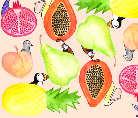 Fruit & Feathers - The Letter P fabric by makemerriness on Spoonflower - custom fabric