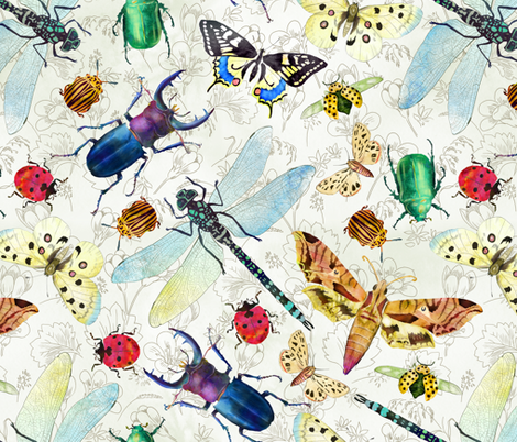 insects fabric by gaiamarfurt on Spoonflower - custom fabric