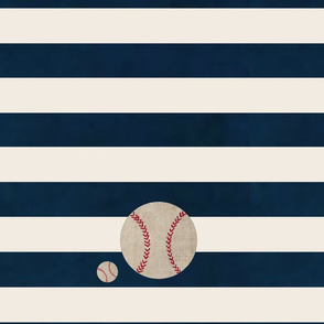 stripes and Baseballs N1387 LARGE-  navy cream horizontal