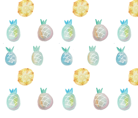 pineapplewatercolor4 fabric by cheshire_curious on Spoonflower - custom fabric