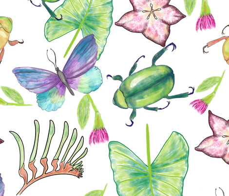 Beetles and Butterflies fabric by kathleenbruceillustration on Spoonflower - custom fabric