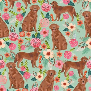 golden retriever fabric - red golden retriever dogs design cute dog fabric - mint