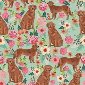 golden retriever fabric - red golden retriever dogs design cute dog fabric - mint