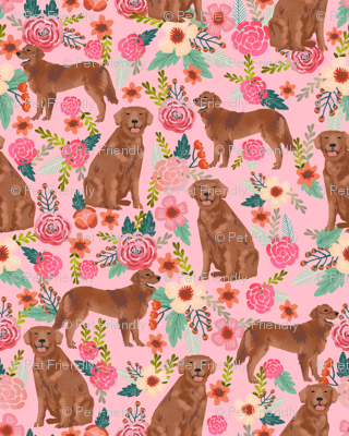 golden retriever fabric - red golden retriever dogs design cute dog fabric - pastel pink