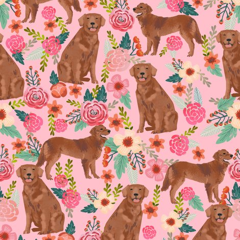 Rgolden_retriever_red_florals_pastel_pink_shop_preview