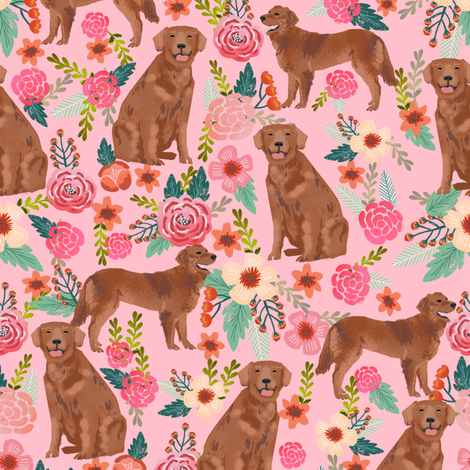golden retriever fabric - red golden retriever dogs design cute dog fabric - pastel pink fabric by petfriendly on Spoonflower - custom fabric