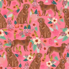 golden retriever fabric - red golden retriever dogs design cute dog fabric - pink