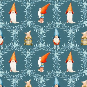 Yuletide Celebration - Gnomes - Dark  Blue