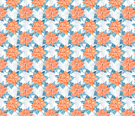 Ice Blue Pinsettia - Scandinavian Yuletide fabric by watercolor_nomads on Spoonflower - custom fabric