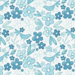 Scandinavian Ice Blue Floral -  Yuletide