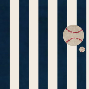 stripes and Baseballs LARGE-  navy cream vertical 1951