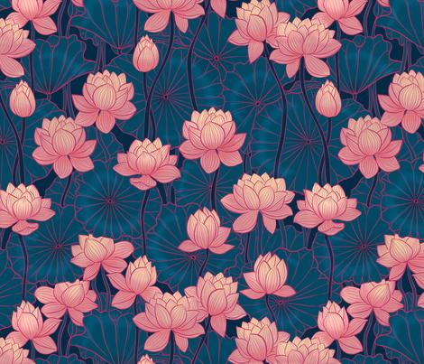 pink lotus dark background fabric by torysevas on Spoonflower - custom fabric