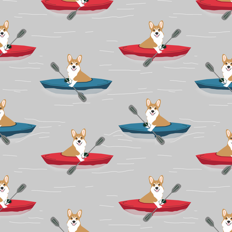 corgis in kayaks fabric cute outdoors dog fabric - grey fabric by petfriendly on Spoonflower - custom fabric