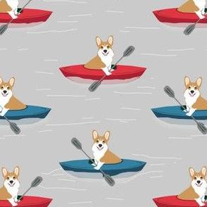 corgis in kayaks fabric cute outdoors dog fabric - grey