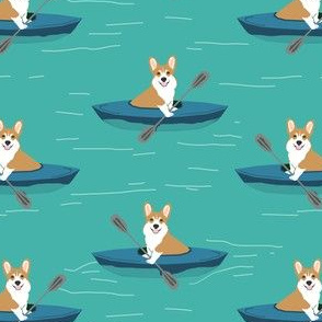 corgis in kayaks fabric cute outdoors dog fabric - turquoise