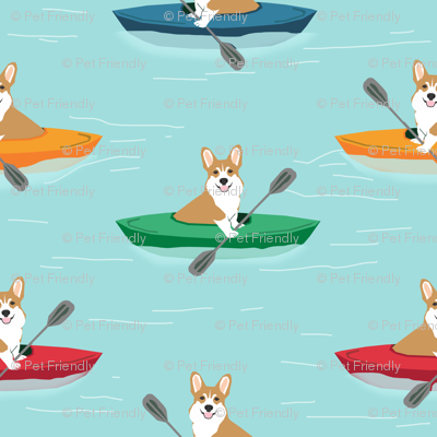 corgis in kayaks fabric cute outdoors dog fabric - blue tint