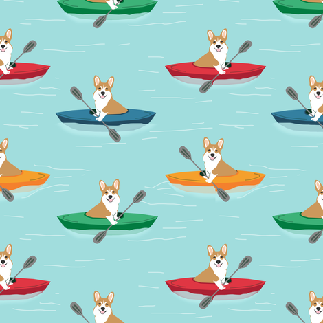 corgis in kayaks fabric cute outdoors dog fabric - blue tint fabric by petfriendly on Spoonflower - custom fabric