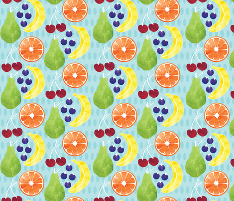 watercolour_fruit_salad fabric by rikkandesigns on Spoonflower - custom fabric
