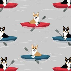 corgis in kayaks fabric cute outdoors dog fabric tricolored corgis - grey