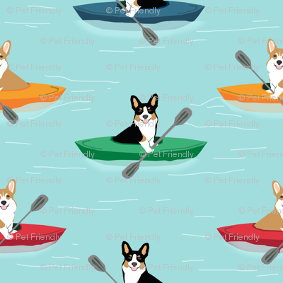 corgis in kayaks fabric cute outdoors dog fabric tricolored corgis - blue tint