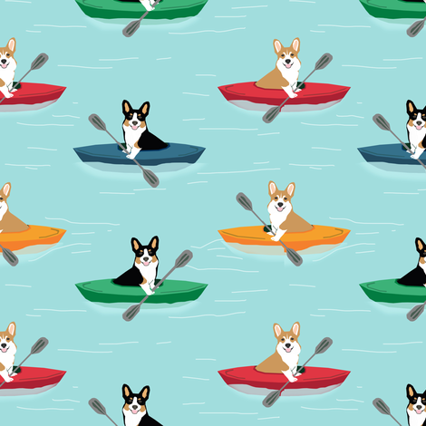 corgis in kayaks fabric cute outdoors dog fabric tricolored corgis - blue tint fabric by petfriendly on Spoonflower - custom fabric