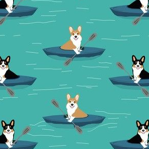 corgis in kayaks fabric cute outdoors dog fabric tricolored corgis - turquoise