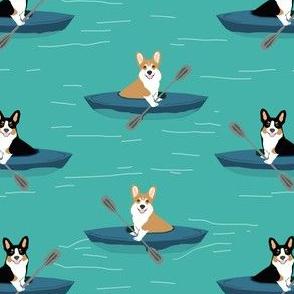 corgis in kayaks fabric cute outdoors dog fabric tricolored corgis - turquoise