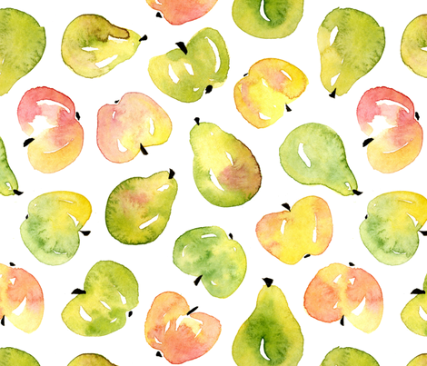 Watercolor pears and apples fabric by daria_nokso on Spoonflower - custom fabric
