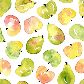Watercolor pears and apples