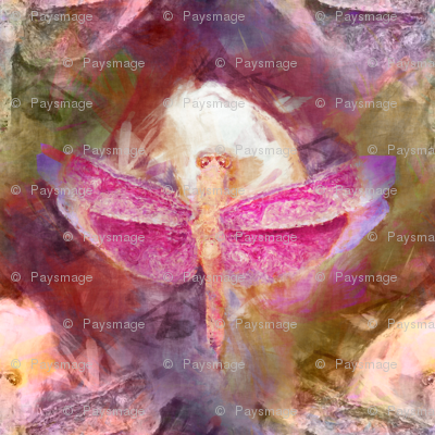 THE PINK WATERCOLOR DRAGONFLY OF THE POND